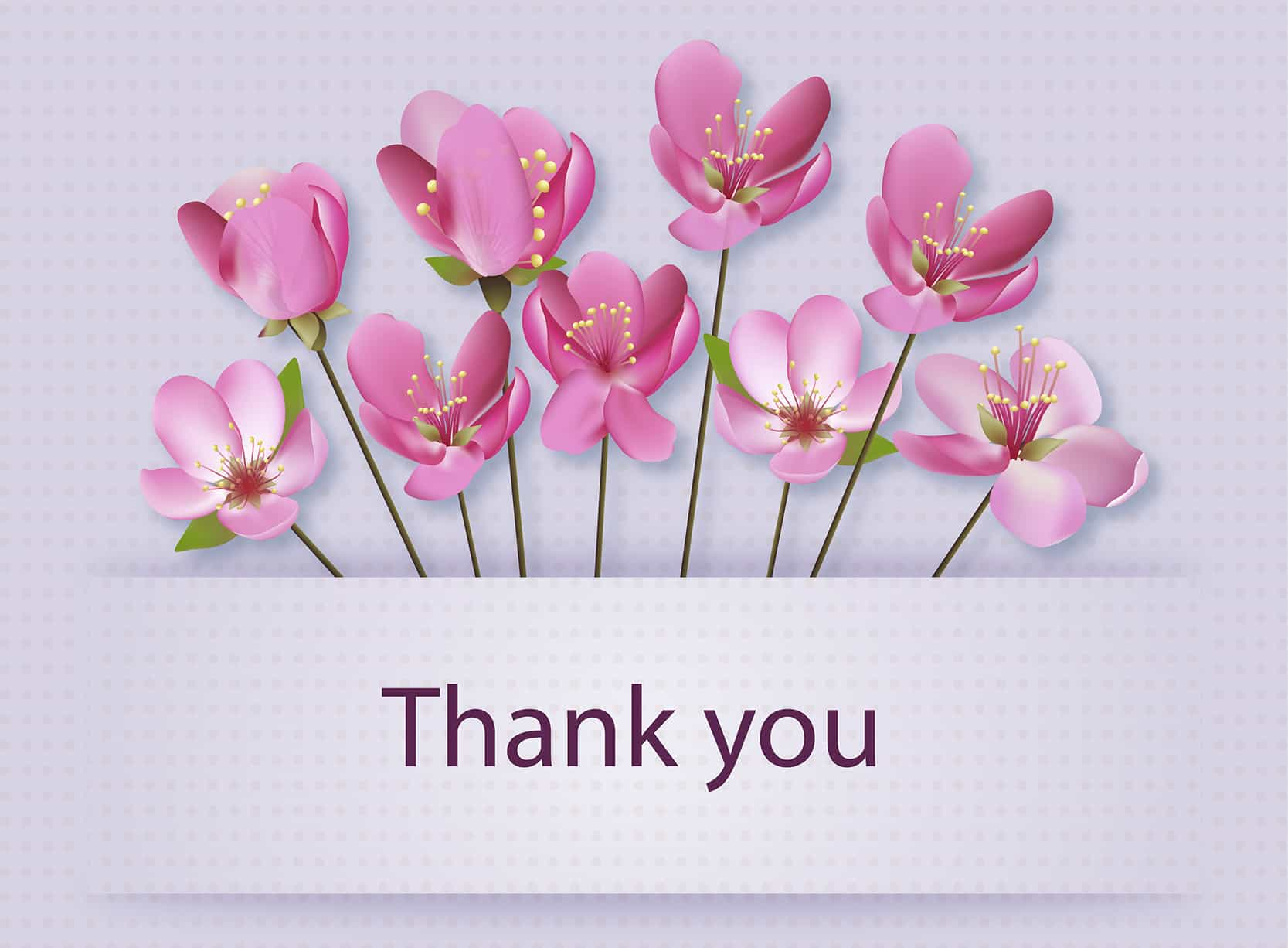 Thank you, with flowers